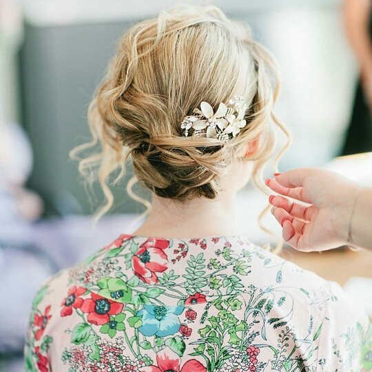 We love Weddings ! #weddinghair #hair #Hairstylist RP  from @thewedding_ac final touches.... photo by @sasithonphoto Hair by @primperfect #primperfect !!!!