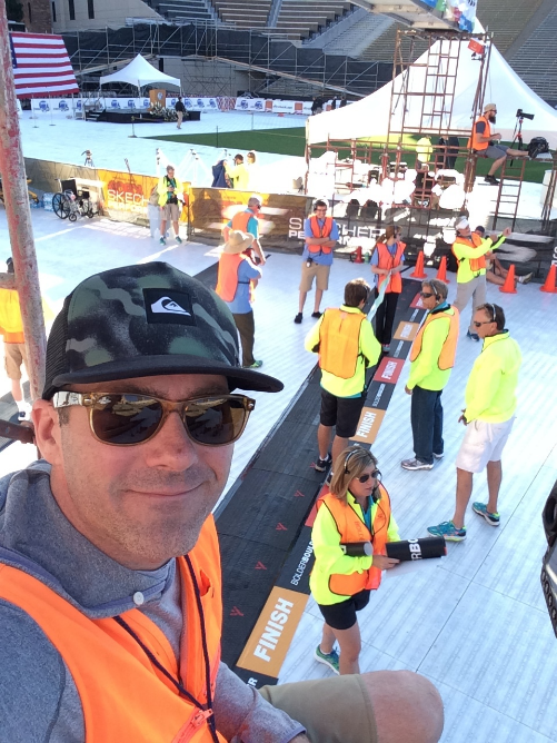 Obligatory finish line selfie with the race officials.