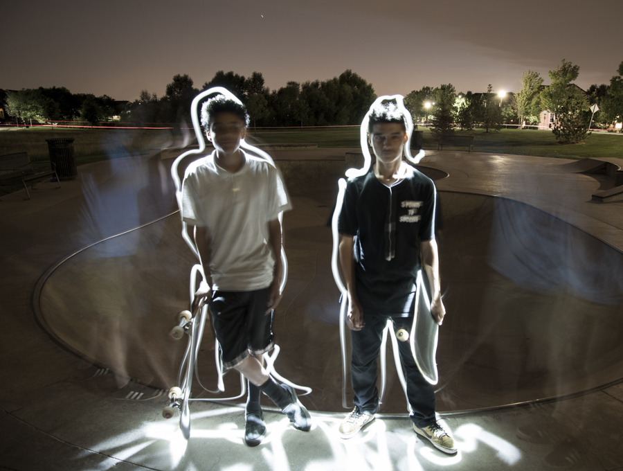 """While shooting in pitch-black late at a skatepark, these two kids were full of questions. They kept asking """"How can a camera work at night?"""". I gave them a quick lesson with my favorite long exposure technique."""