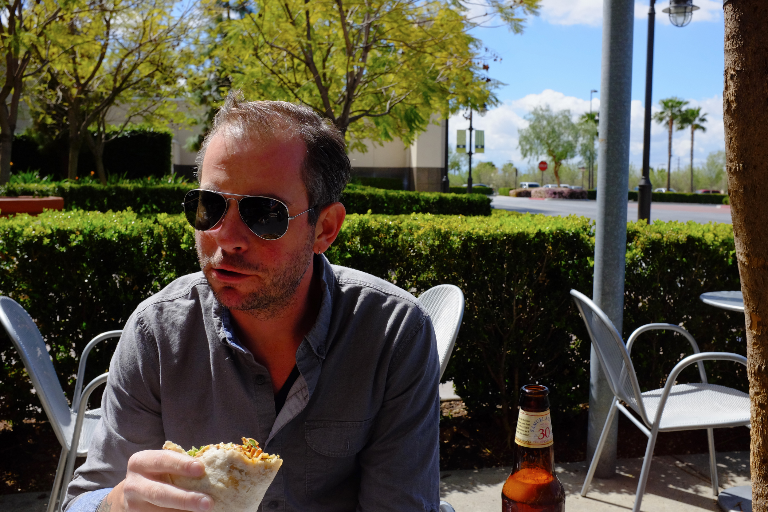 Adam enjoys a Chipotle burrito on what turned out to be a pretty cold day by So Cal standards