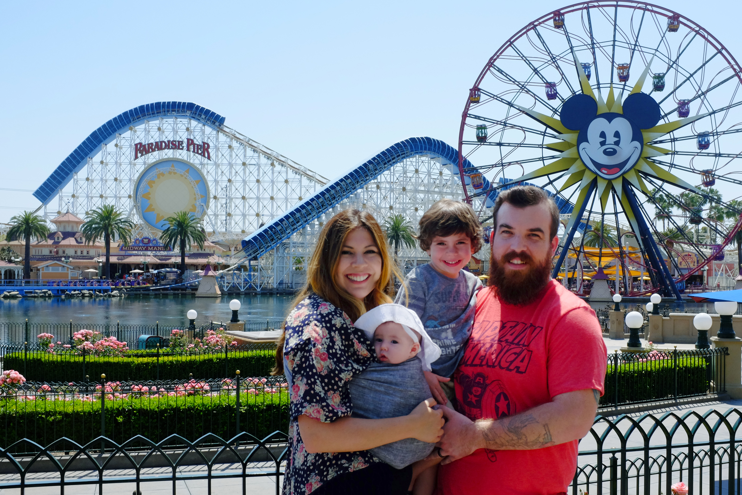 Stopped for a quick family photo in front of the boardwalk. The employee that took this photo took the time to compose us and made a really nice family photo. Thanks man!