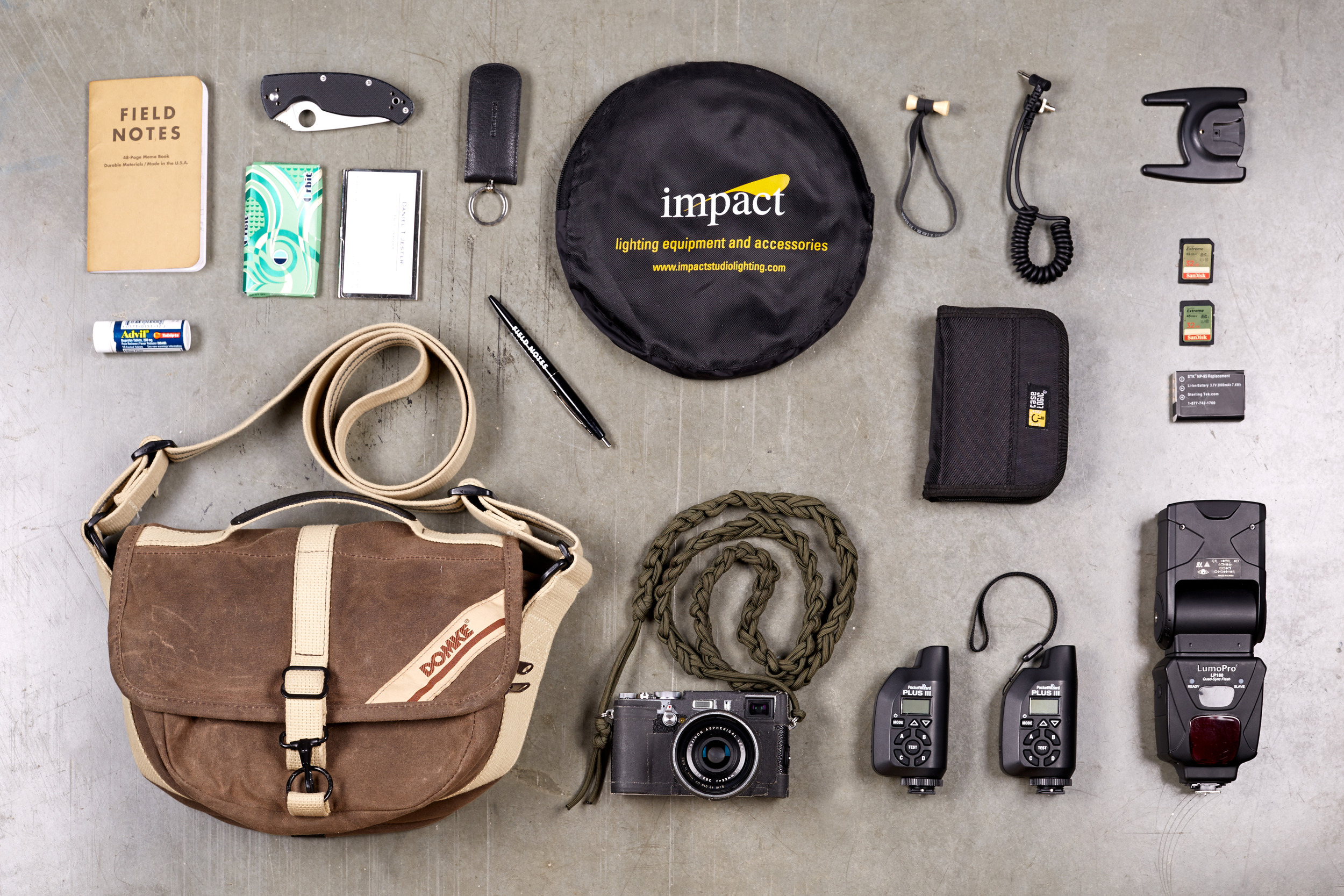 My everyday photo kit. A small but powerful kit that is perfect for everyday carry and can net you some solid results on the fly.