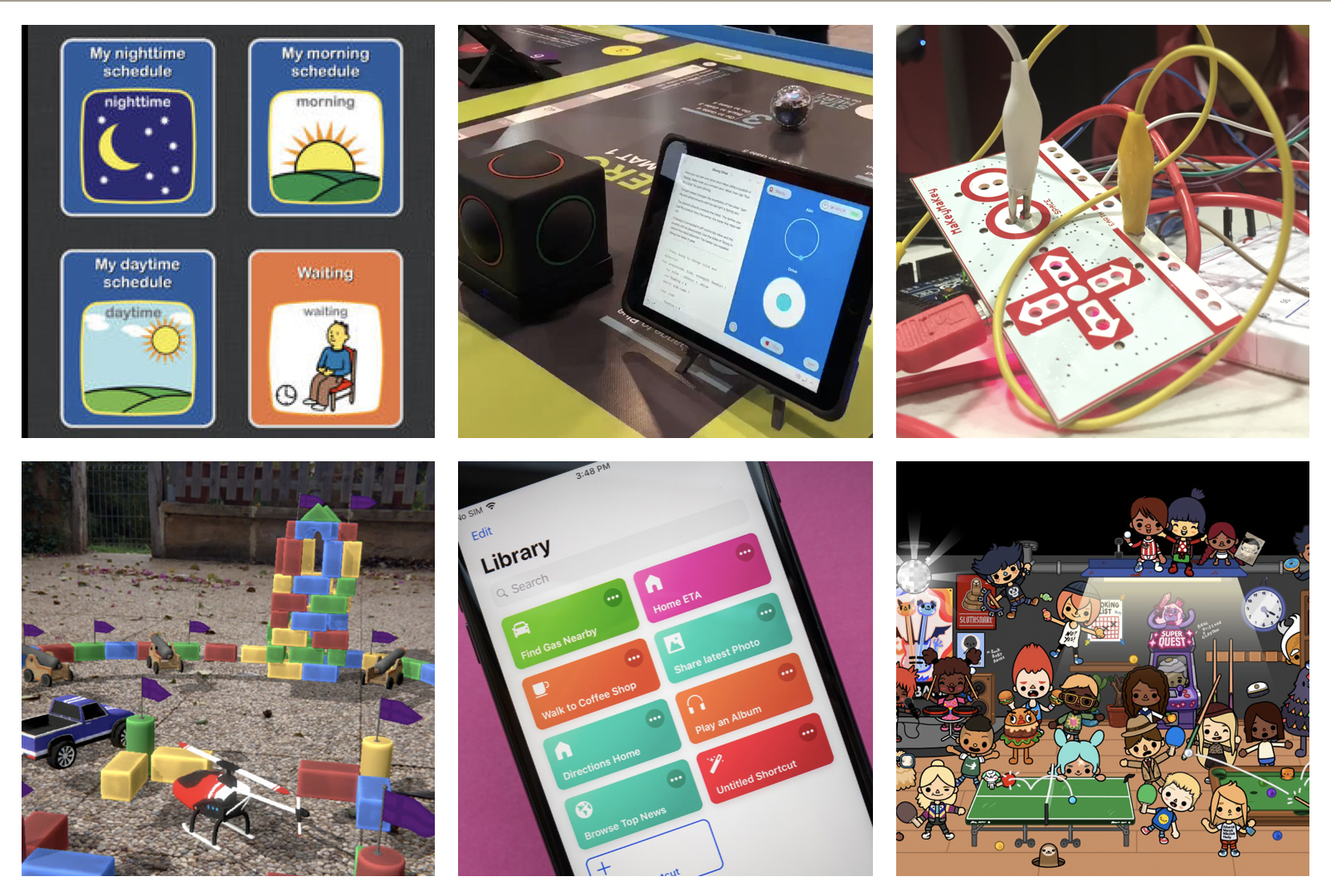 Collage of different technologies: from top left, Choiceworks; Skoog; MaKey MaKey; AR Playgrounds; iOS Shortcuts; Toca Boca.