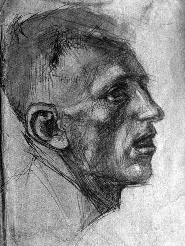 Profile of a man. Study for Composition Sverdlov