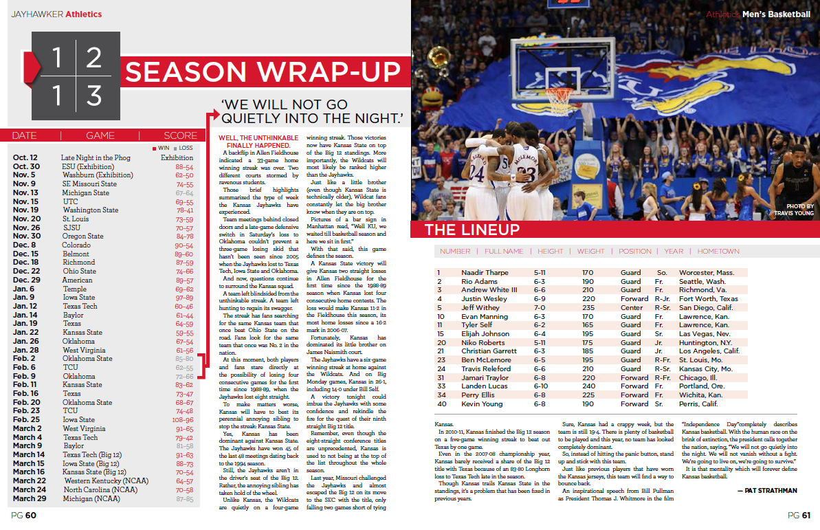 basketball season wrap-up / Jayhawker Annual Magazine
