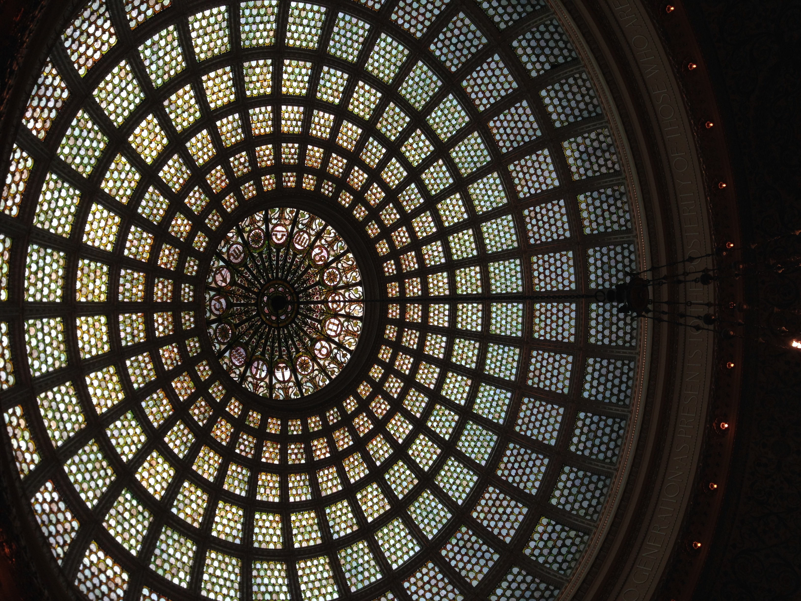 Beautiful Tiffany glass dome inside the Chicago Cultural Center
