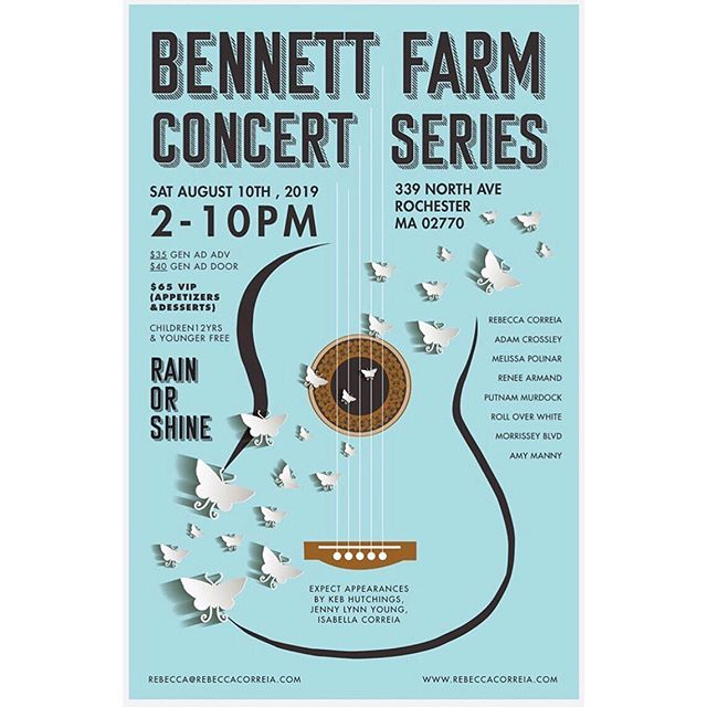 Excited to play this concert series tomorrow that @rebeccacorreia's been putting on for years at her family's beautiful Bennett Farm in Rochester, MA. (link for tickets in bio) #bennettfarm2019 #concertseries #livemusic #singersongwriters #massachusetts