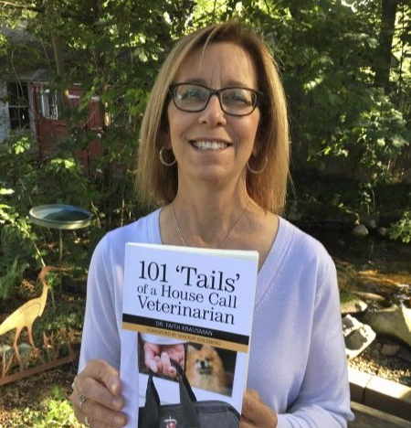 Dr. Krausman with her book, 101 'Tails' of a House Call Veterinarian