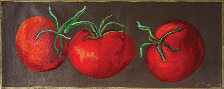 Tomatoes on Brown Floor Cloth