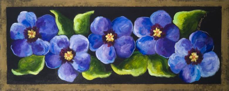 Blue Pansies on Black Floor Cloth