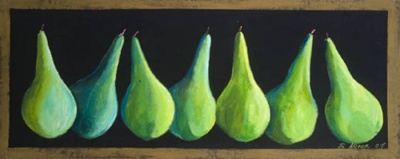 Green Pears on Black Floor Cloth