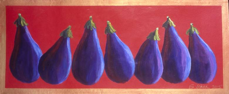 Eggplants on Red Floor Cloth