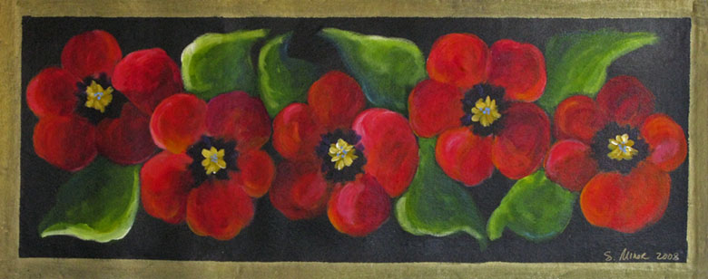 Red Pansies on Black Floor Cloth