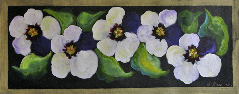 White/Purple Pansies on Black Floor Cloth