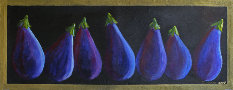Eggplants on Black Floor Cloth