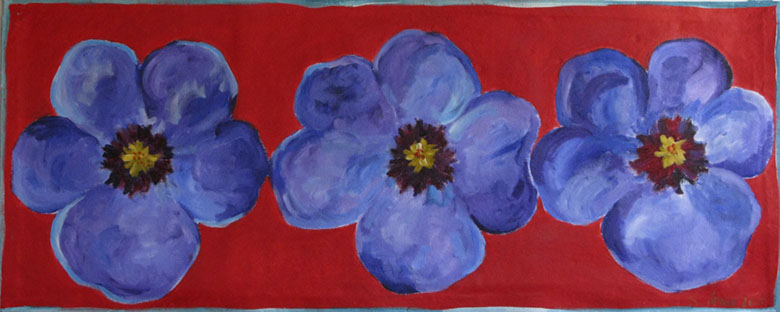 Blue Pansies on Red Floor Cloth