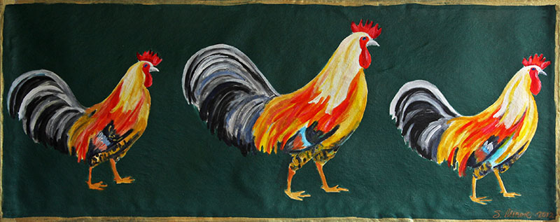 Roosters Runner Floor Cloth
