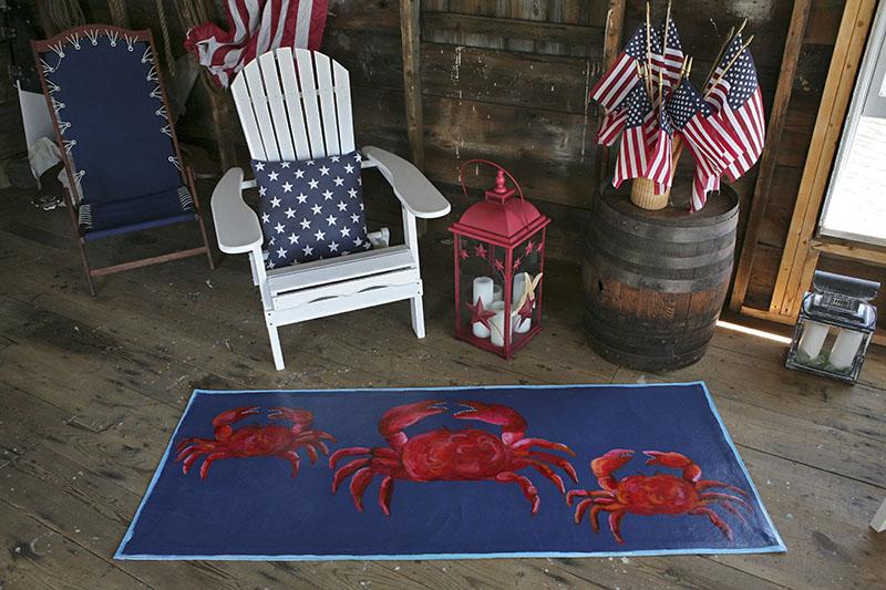 Custom Crab Rug in Boathouse, Maine