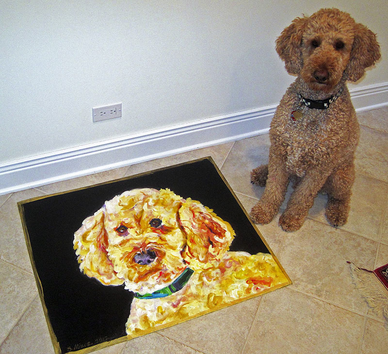 Dog with Portrait Rug (Lake Michigan Cottage)