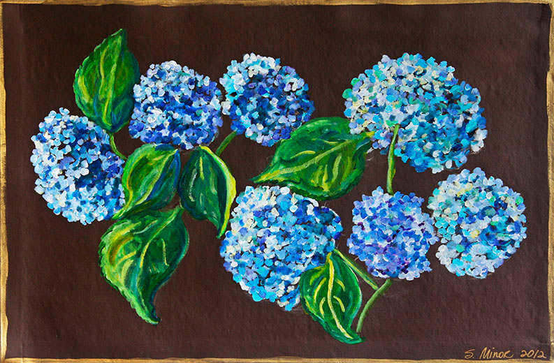 Hydrangea on Brown 3' x 5' Floor Cloth
