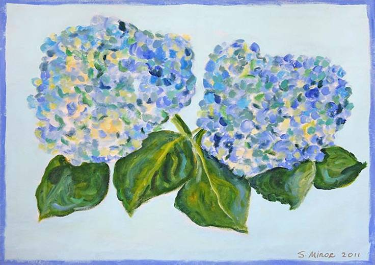 Hydrangea on Light Blue Placemat
