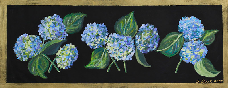 Blue Hydrangeas on Black Runner