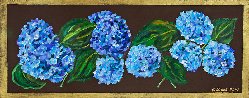 Blue Hydrangeas on Brown Runner