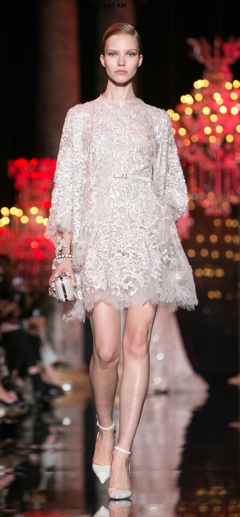 I love the subtlety of Elie Saab's modernization of traditional fabric. Note the belt and jeweled spiral cuff bracelet. btw..all of Elie's gowns (2014 Winter) seemed to have pockets...I love him!
