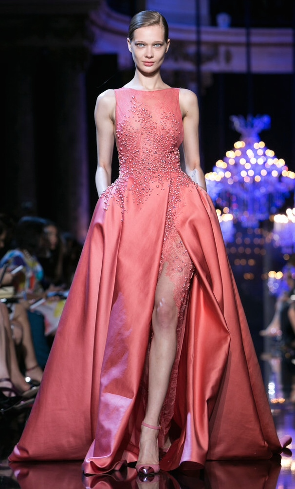 Elie Saab's melon gown is the perfect balance of chaste and sexy. Note the metallic-toed shoes.