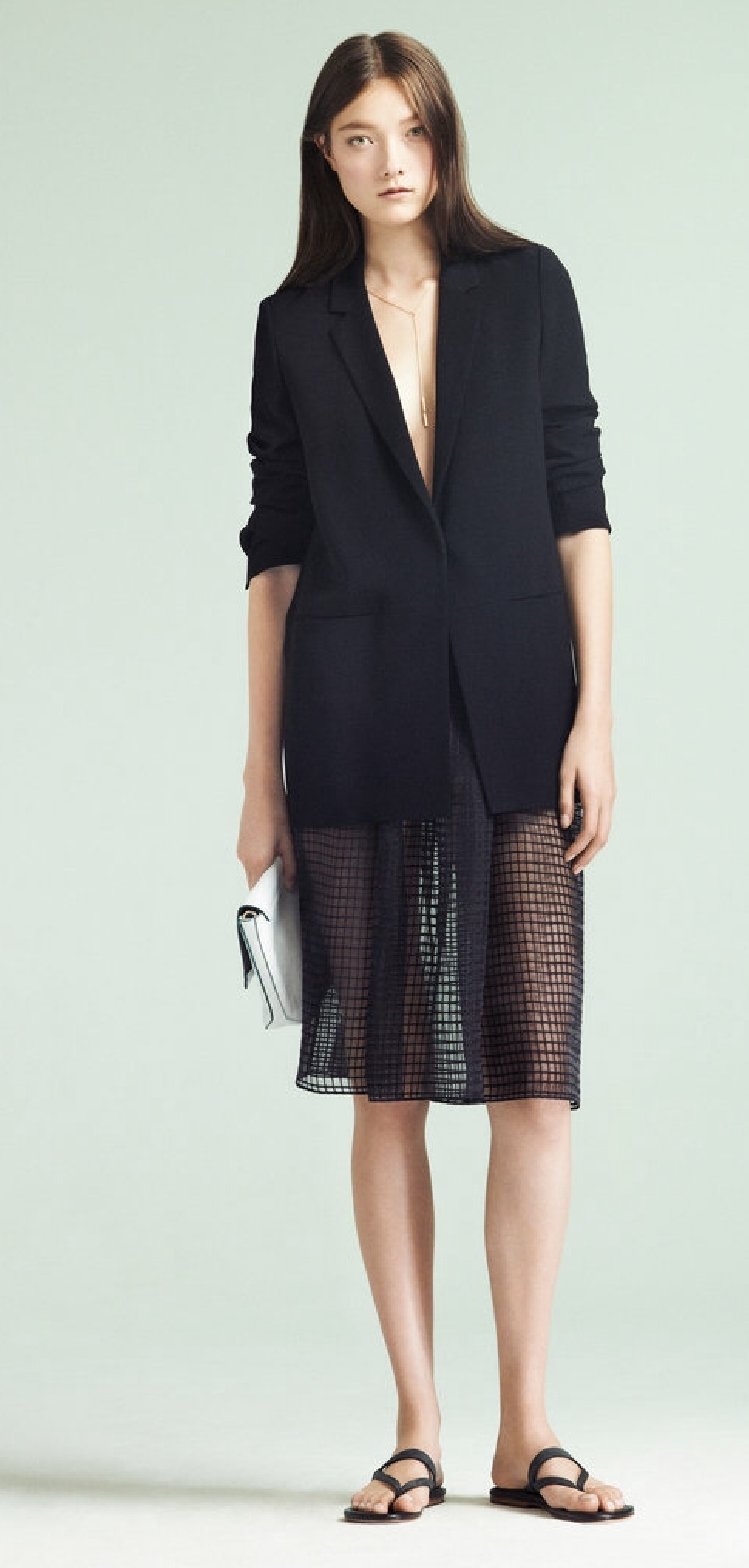 Elizabeth and James pairs a perforated mesh skirt with an oversized jacket.