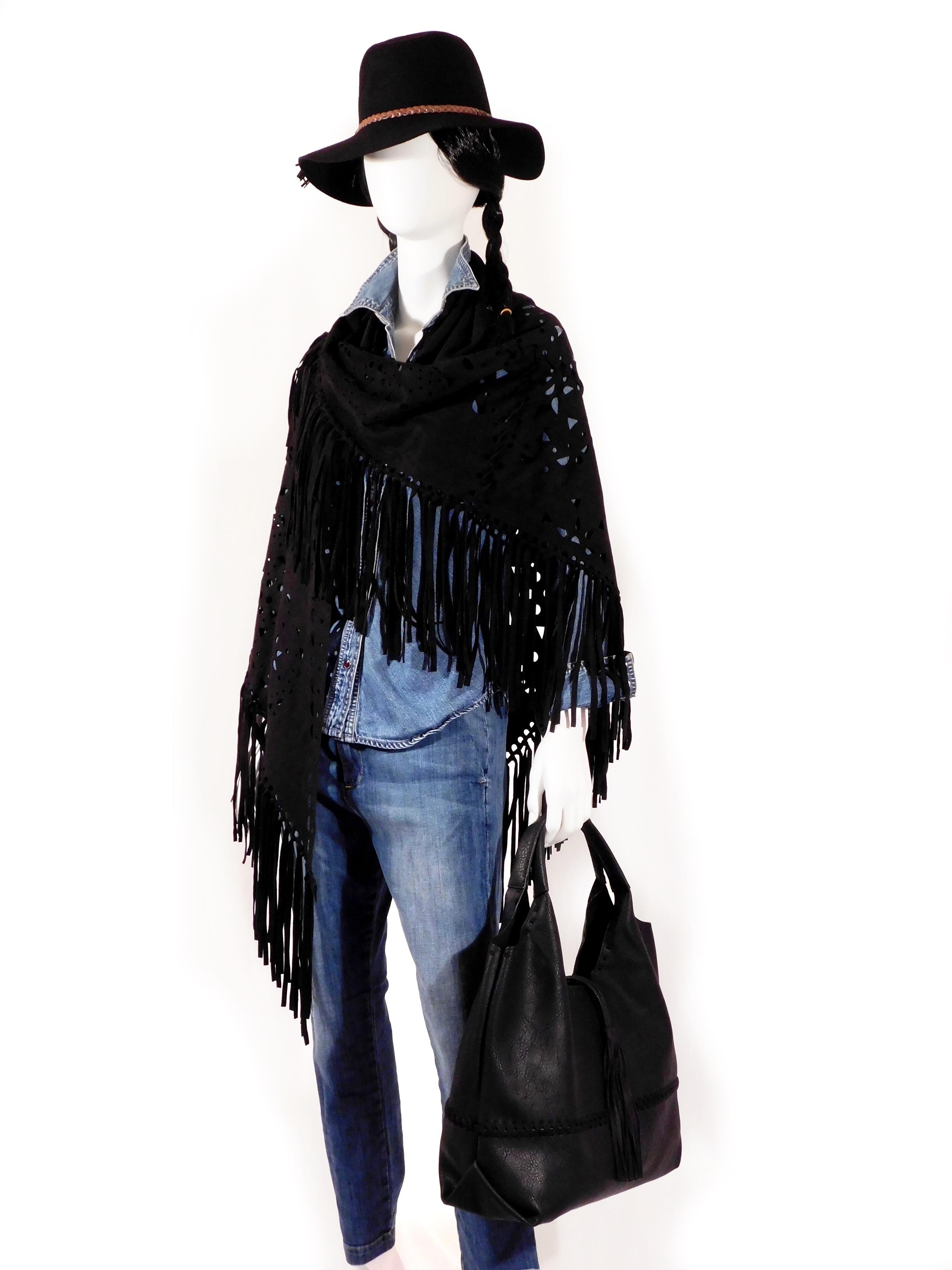 Sueded  Fringe Wrap ,  Portofino  Handbag ,  Gemma  Rancher Hat