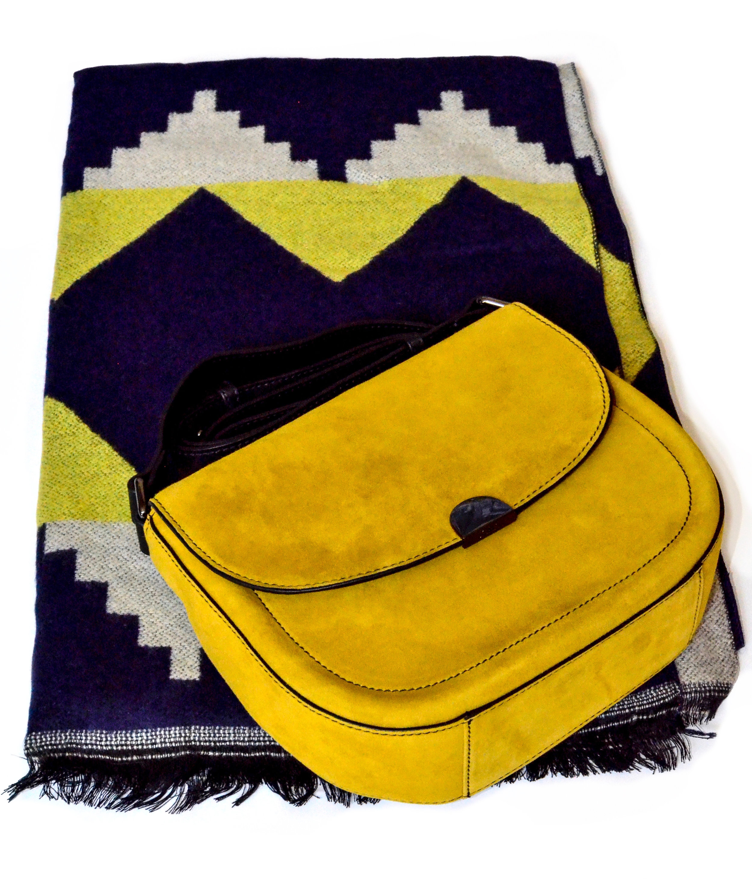 Curated  Box No. 100 -  Cashmere  Geometric Print Scarf and  Janet  Nubuck Leather Saddlebag