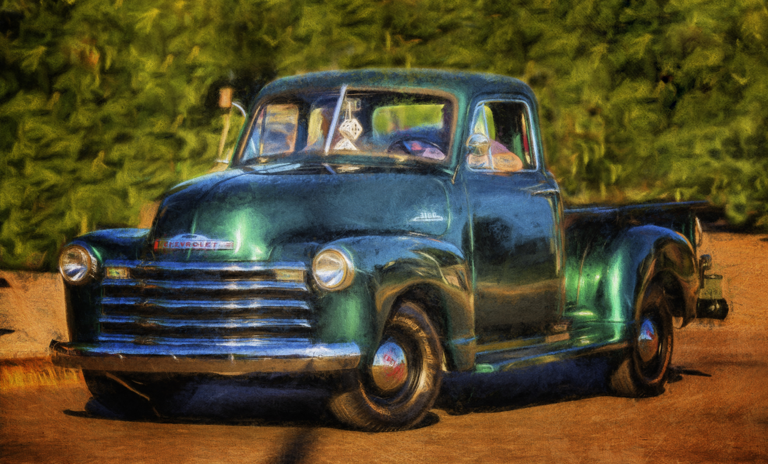 An absolutely beautiful Chevy pick-up turns onto Main St. from E. Jefferson St.  An artistic interpretation by Robin Collins.