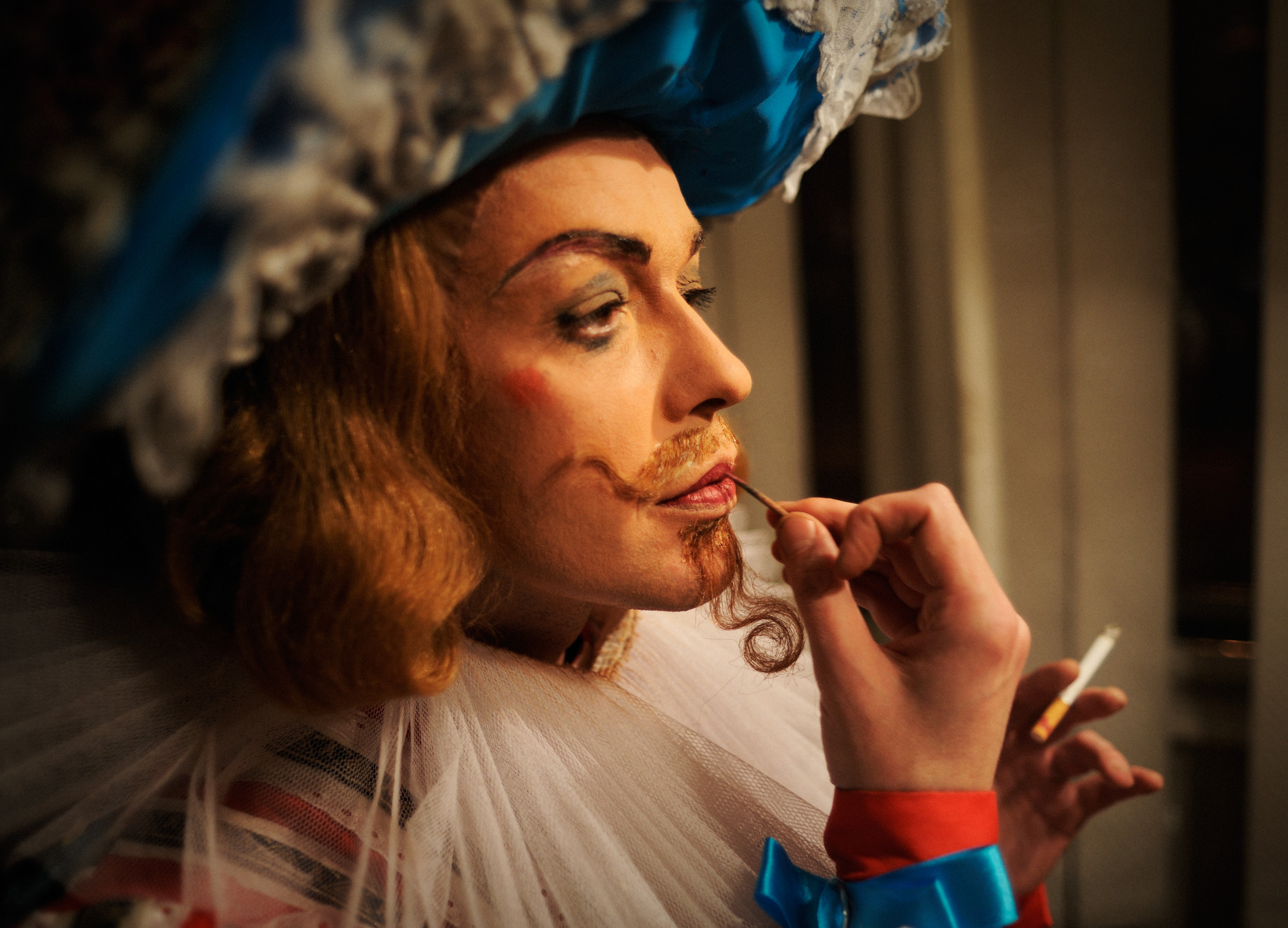 Serguei Najenko as Don Quixote is deft at applying his own makeup. Smoking is a popular vice among the dancers