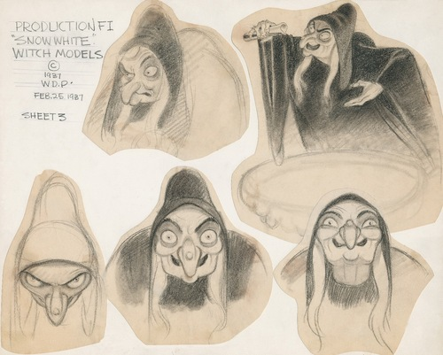 Joe designed the witch from Snow White as well as the vain Queen before her transformation.