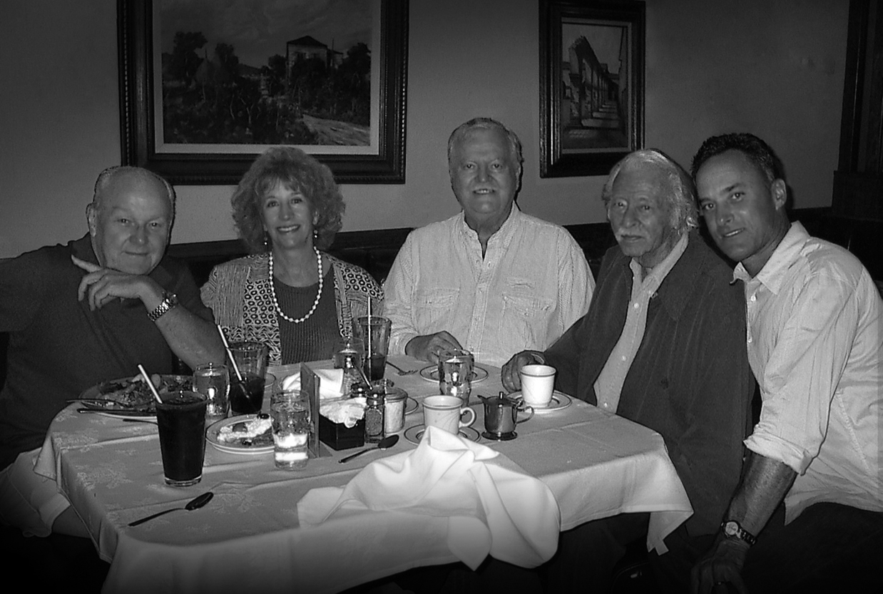 Burny Mattinson, Roland Wilson and his wife, and Joe and me at what was our favorite place to eat lunch every day the now gone, Genio's on Olive Ave., Burbank.  Joe and I or Joe, Burny and I would go to lunch there pretty much every day. Joe was loved by all the waitresses because he remembered every detail of all their lives and would ask them how this was going or how that was going, never ever forgetting what their daily lives were all about. After he passed away, they all were so moved and saddened by Joe's demise. Joe, Burny and I had eaten there in fact the day before he died.