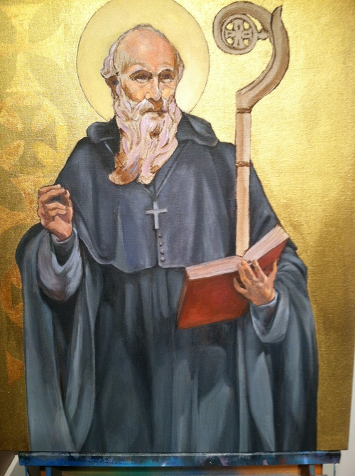 Original version of St. Benedict Painting with gold background.