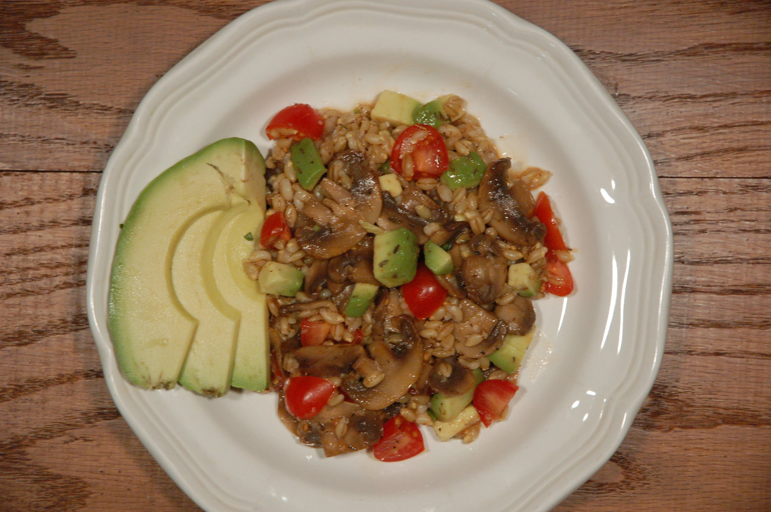 Simple 3-item dish: Whole Grain Barley with Tomatoes, Avocado, & Mushrooms