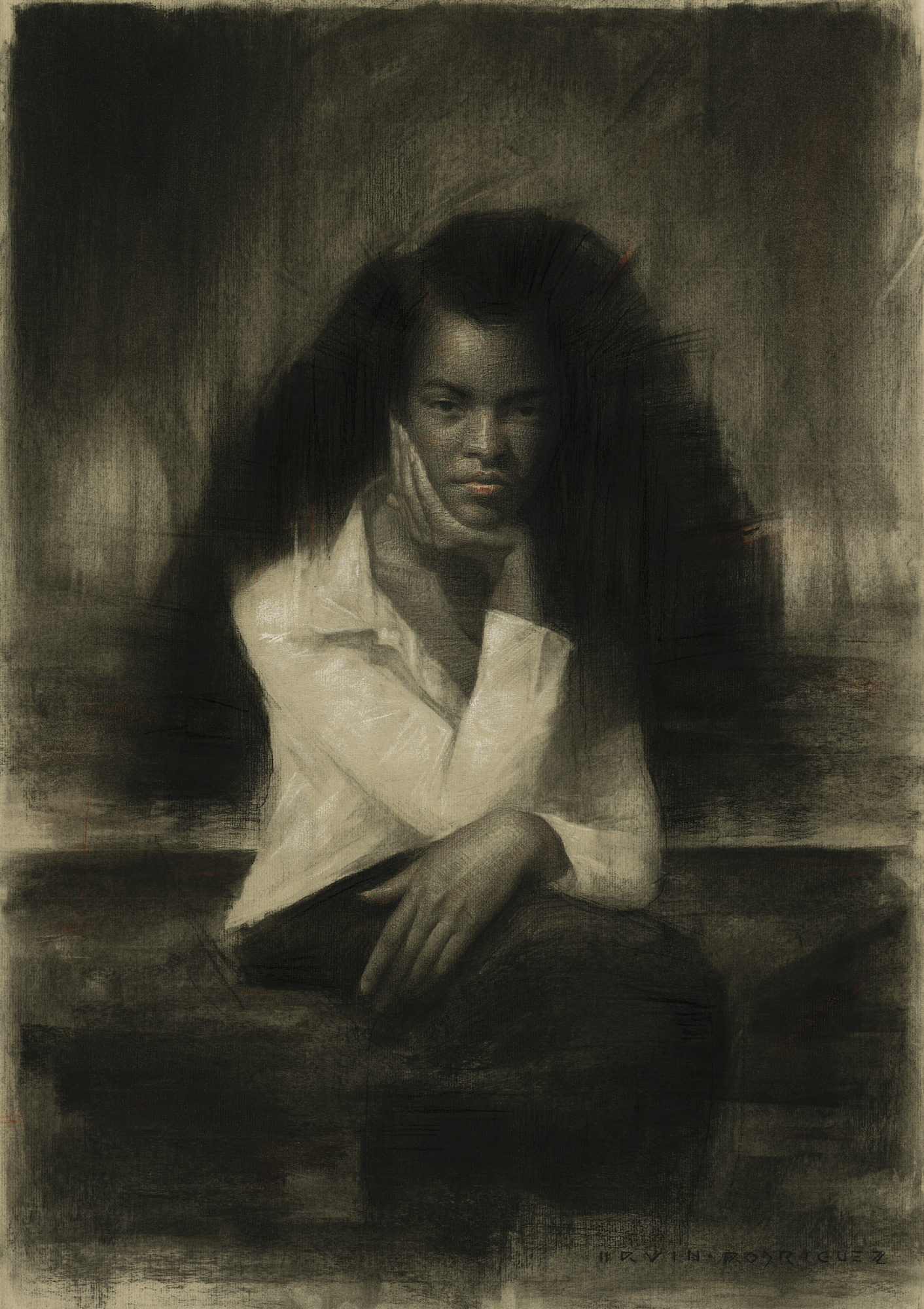 Irvin Rodriguez | Lost in a Gaze | Charcoal and Pastel on Paper | 27 ½ x 19 ½ inches or 69 ¾ x 49 ½ cm