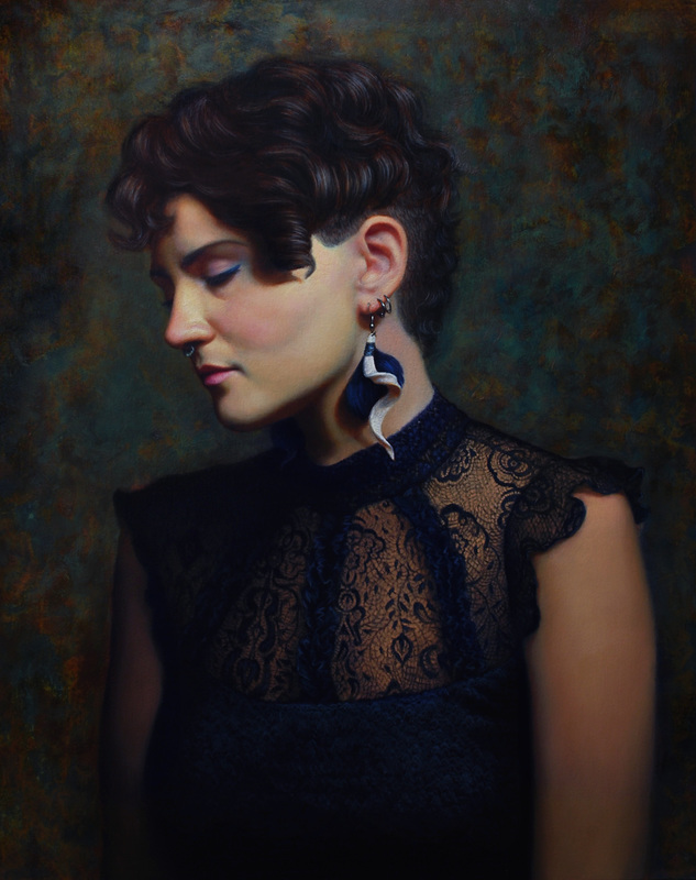 Brianna Lee | Portrait of Liz | Oil and Iron Pigment on Panel | 16x20 |  briannaleefineart.com
