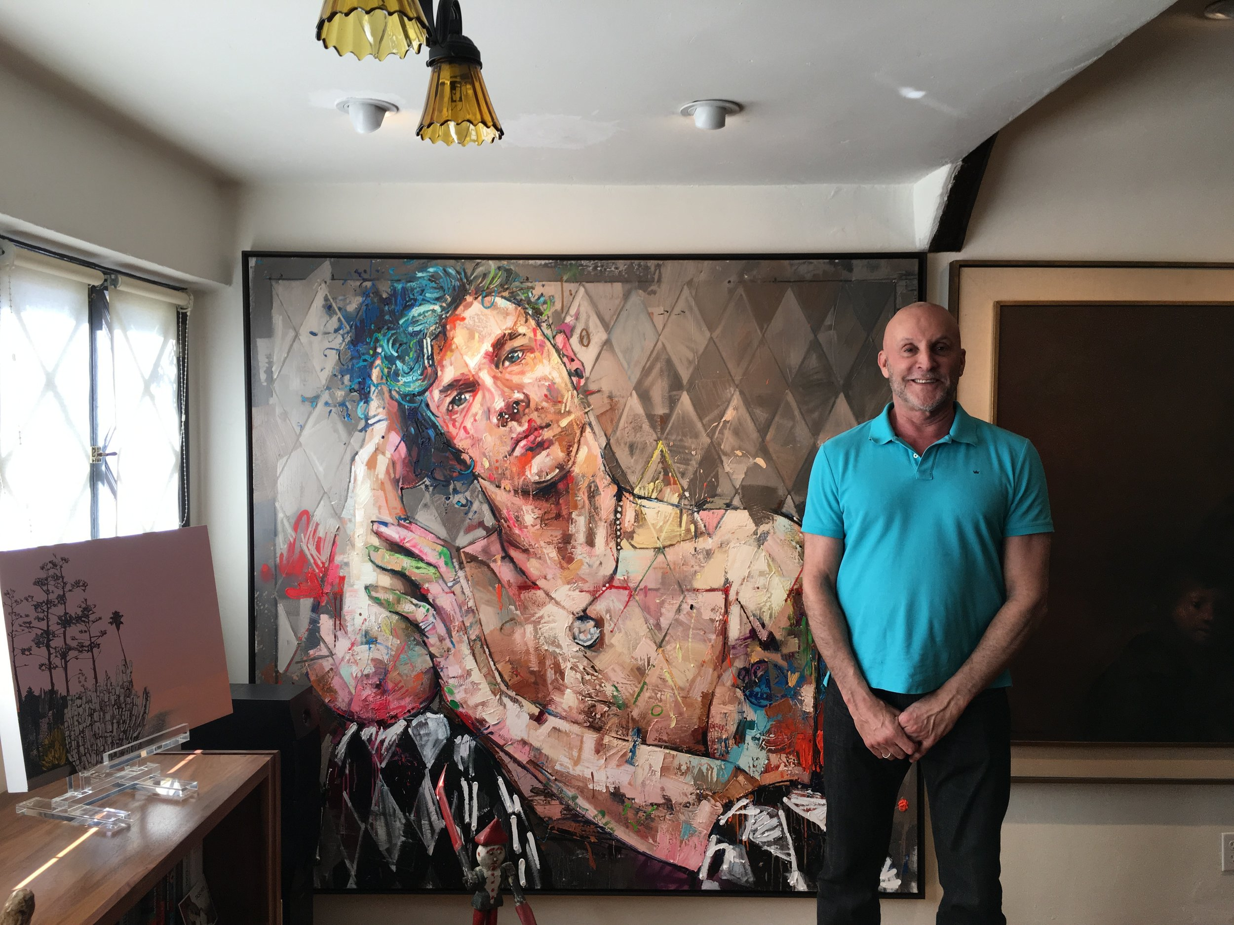 Sheill standing next to his Andrew Salgado -  See painting on Andrew Salgado's Artsy Page.