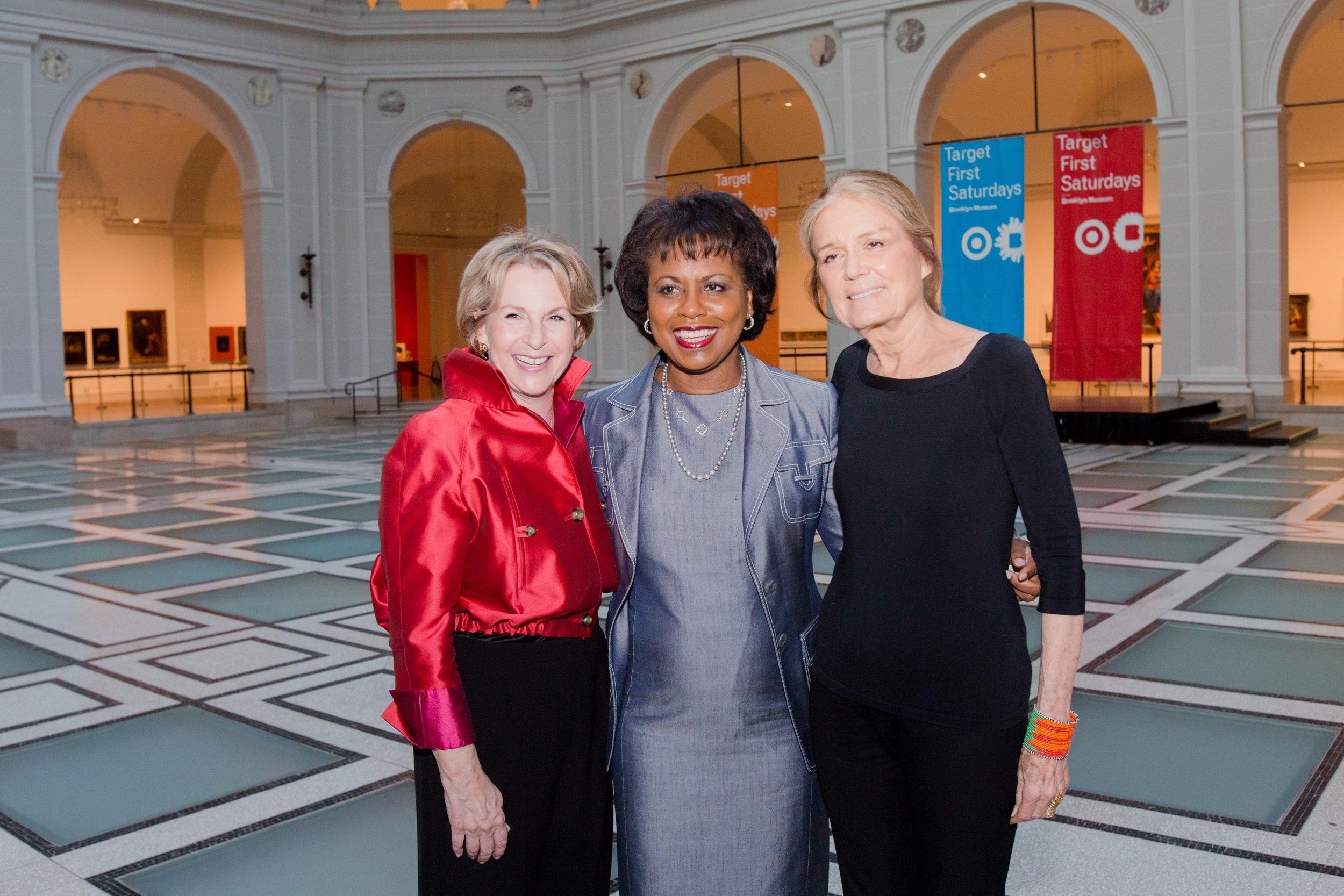 Elizabeth Sackler and Gloria Steinem with 2014 Sackler Center First Award Honoree Anita F. Hill. Photo credit: Elena Olivo