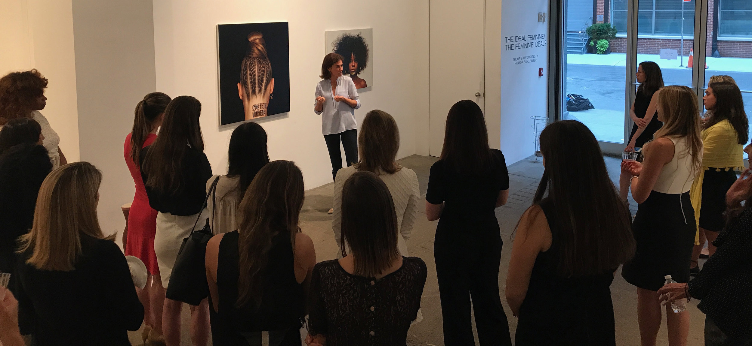 Natasha Schlesinger speaking at Winston Wachter Fine Art