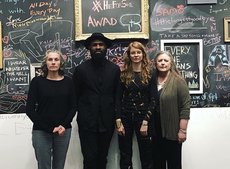 Tricia Wright  (artist),   Winston Peters   ( MyUberLife  Consultant),   Susan Mumford   (founder of  Association of Women Art Dealers )  Janice Sands  (Executive Director of   Pen + Brush  )