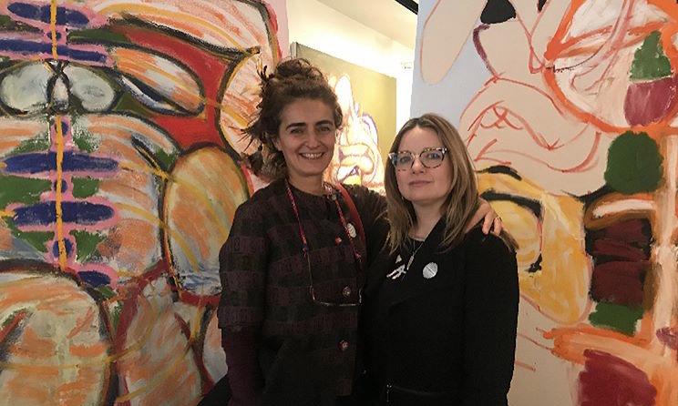 Dawn Delikat, associate executive director, of    Pen + Brush    right, with artist    Michela Martello