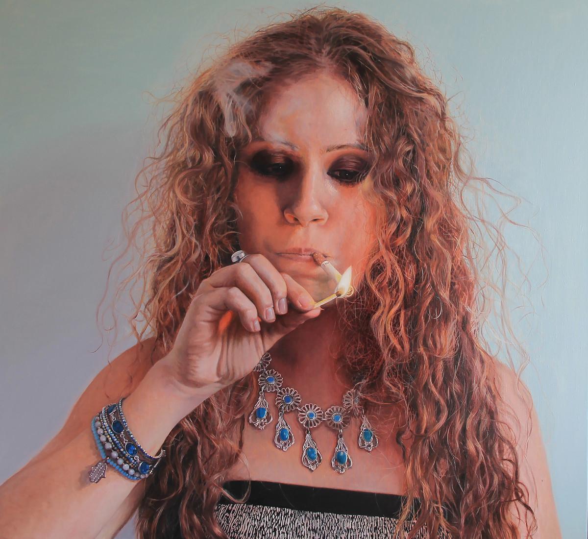 "Smokey eyes/Joëlle  | oil on canvas | 43.3""×47.2""×1.8"""