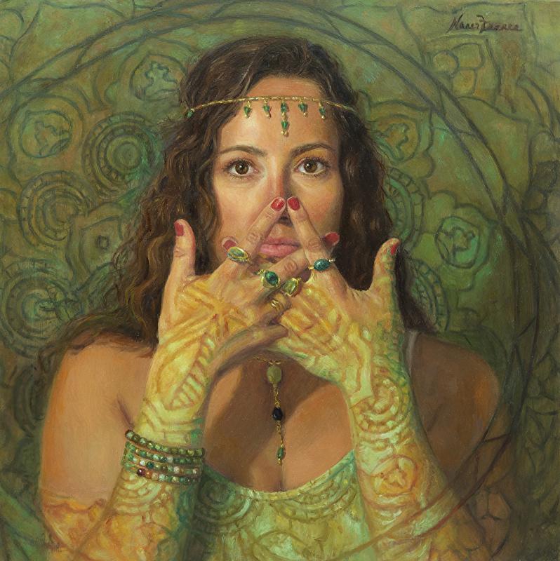"Majapradama Mudra, The Third Eye  | oil on panel | 12""×12"""