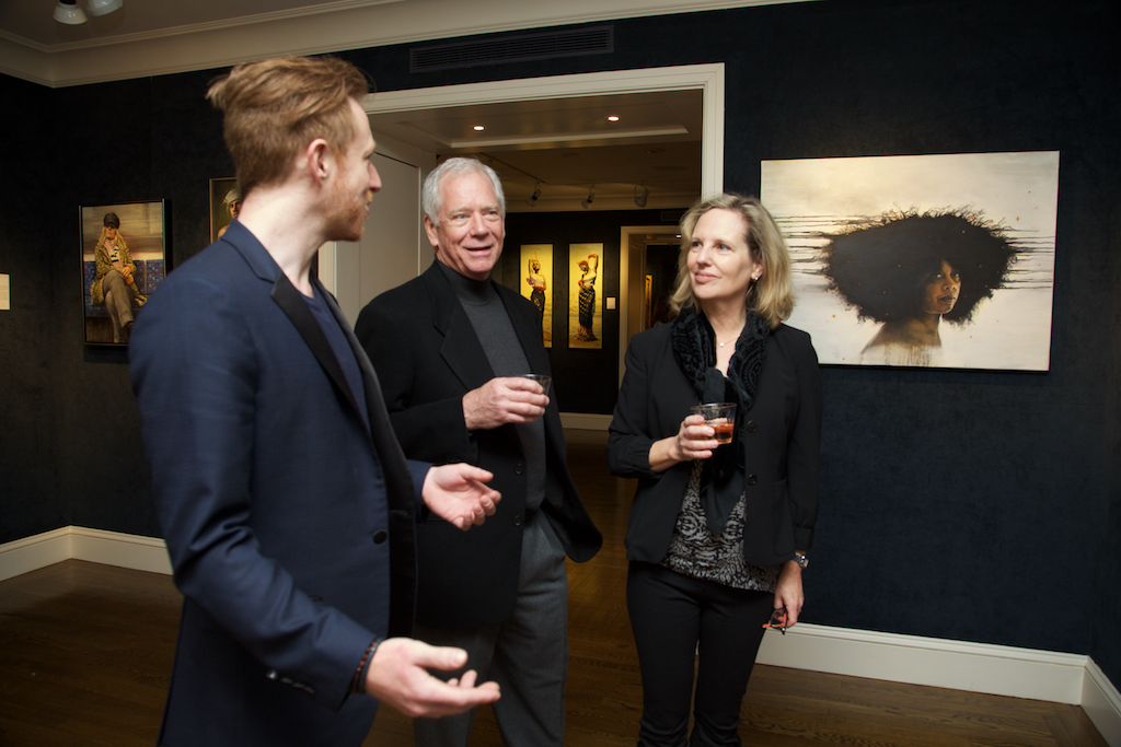 Lance Rehs with artist June Stratton and guest. Photo courtesy of Robin Damore, March 9, 2019.