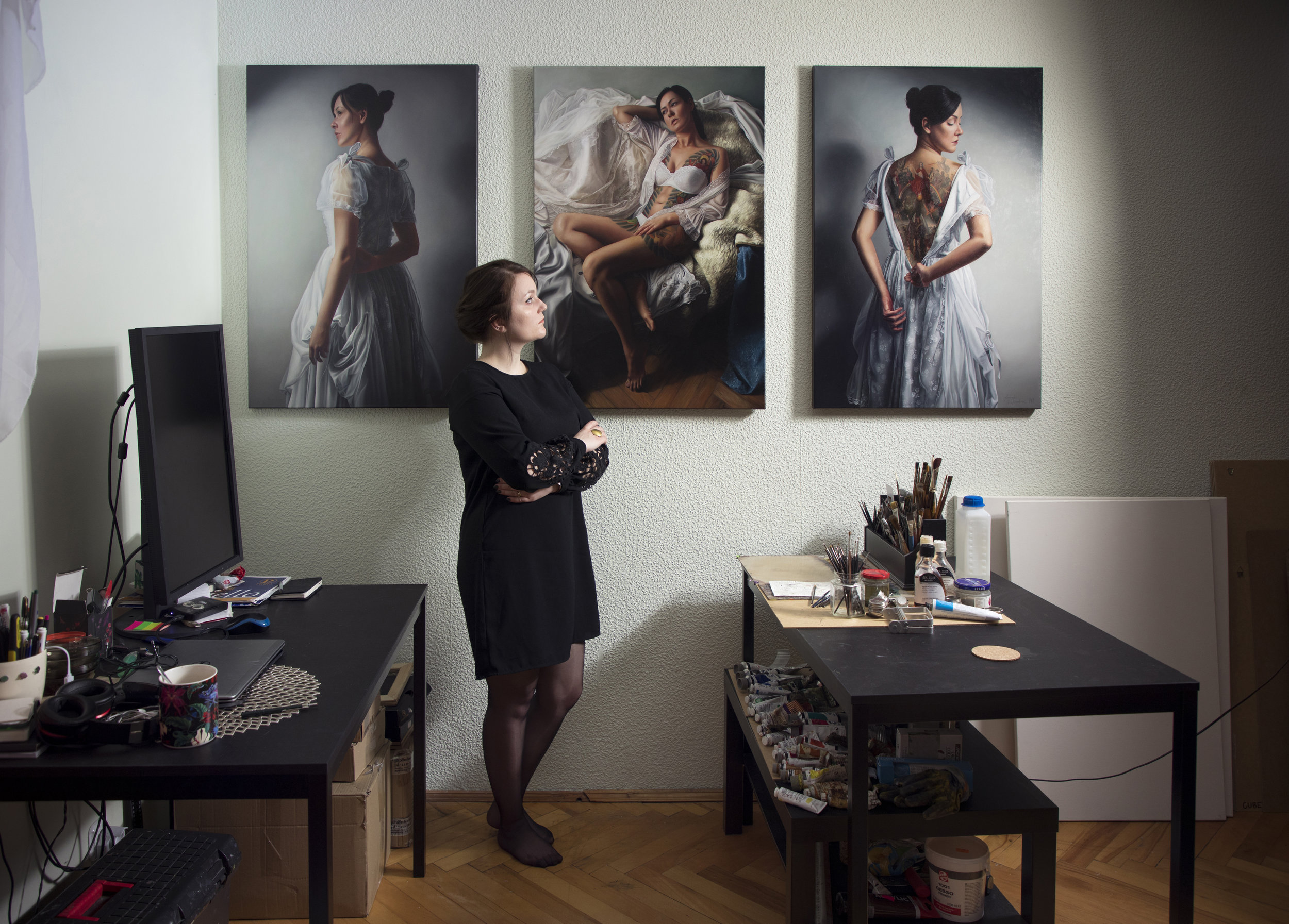 Agnieszka in the studio with  Girl in White—Triptych