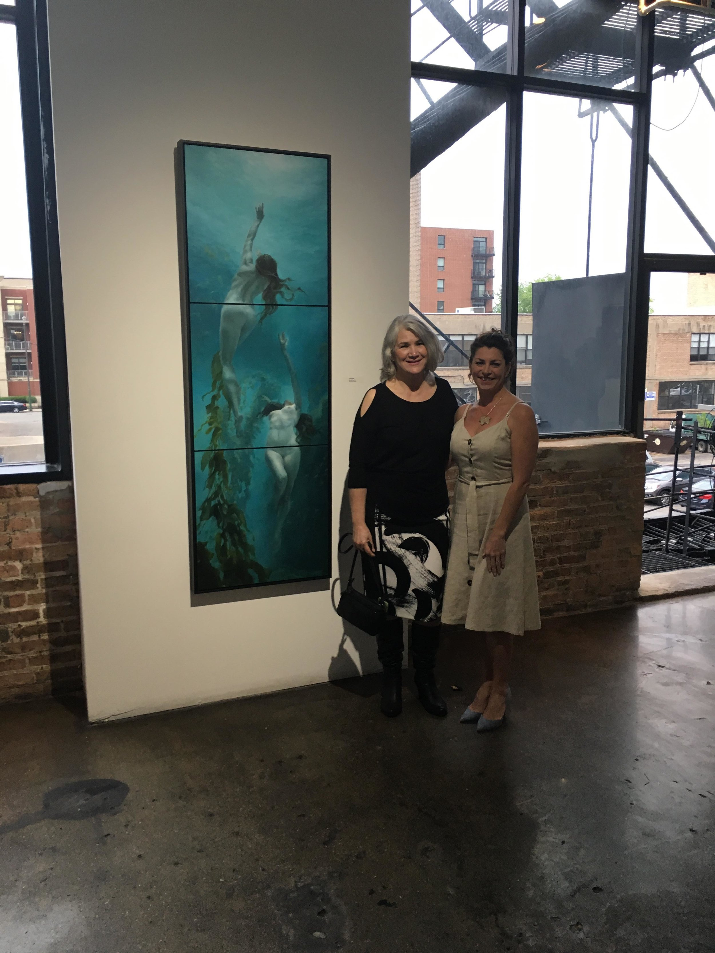 Didi Menendez pictured with Lisa Keay at the Zhou B Art Center for SECONDARY MEANINGS curated by Steven Alan Bennett and Dr. Elaine Schmidt.